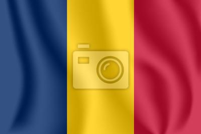 Drapeau du Tchad Drapeau agitant réaliste de la République du Tchad. Tissu drapeau flottant texturé du Tchad.