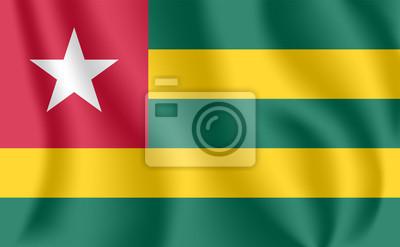 Drapeau du Togo. Drapeau agitant réaliste de la République togolaise. Tissu drapeau flottant texturé du Togo.