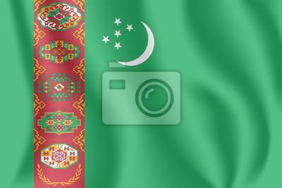 Drapeau du Turkménistan. Drapeau agitant réaliste du Turkménistan. Drapeau flottant texturé de tissu de Turkmenia.