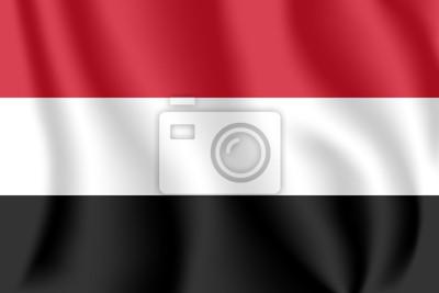 Drapeau du Yémen. Drapeau agitant réaliste de la République du Yémen. Tissu drapeau flottant texturé du Yémen.