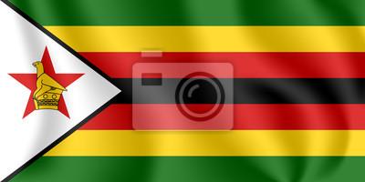 Drapeau du Zimbabwe. Drapeau agitant réaliste de la République du Zimbabwe. Tissu drapeau flottant texturé du Zimbabwe.