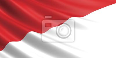 Sticker Drapeau, Indonésie, onduler, vent