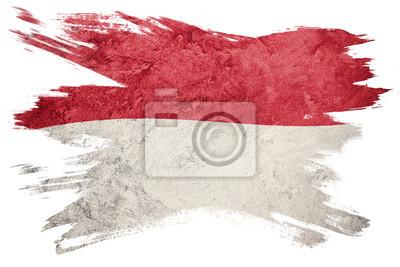 Sticker Drapeau indonésien grunge Drapeau indonésien avec texture grunge Coup de pinceau.