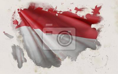 Sticker Drapeau indonésien, Indonésie Couleurs nationales Fond << Rendu 3D >>
