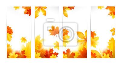 Drapeaux d'automne avec des feuilles