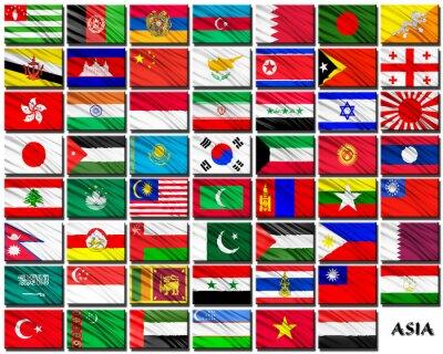 Sticker Drapeaux des pays asiatiques dans l'ordre alphabétique
