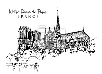 Sticker Drawing sketch illustration of Notre Dame de Paris