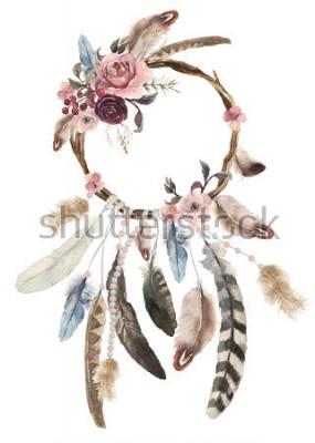 Sticker Dreamcatcher bohème de décoration aquarelle isolé, décoration de plumes de boho, conception chic de rêve autochtone, impression de mystère ethnique tribal, conception de la culture américaine, ornemen