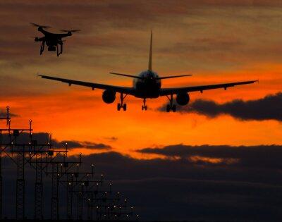 Sticker Drone, voler, près, commercial, avion