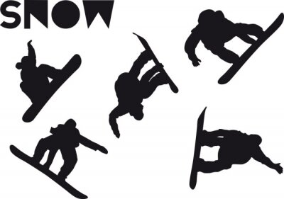 Sticker Druck Snowboarder ensemble de saut