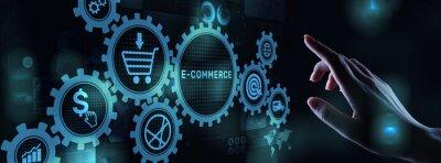Sticker E-commerce business online digital internet shopping concept on virtual screen.