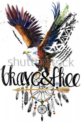 Sticker eagle. American Indian Chief Headdress. war bonnet. dream catcher background. native american poster. animal illustration. brave and free hand written text.