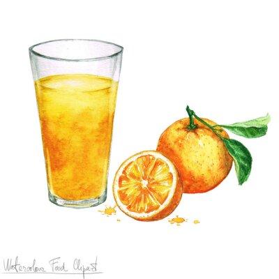Sticker Eau, nourriture, Clipart - orange, jus, isolé, blanc