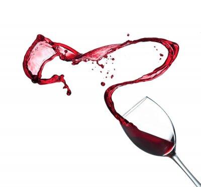 Sticker Éclaboussures de vin rouge de verre, isolé sur fond blanc