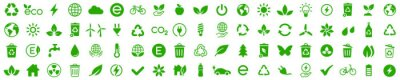 Sticker Ecology icons set. Nature icon. Eco green icons. Vector