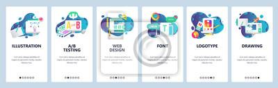 Sticker Écrans d'accueil du site Web. Modèle de bannière de vecteur de menu pour le développement de sites Web et d'applications mobiles. Illustration plat design moderne art linéaire.