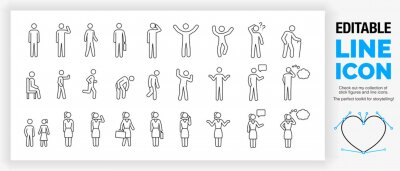 Sticker Editable set of stick figures, part of a huge collection of  line icons and stick figures!