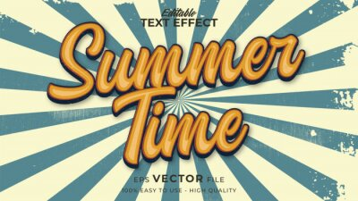 Sticker Editable text style effect - retro summer text in grunge style theme