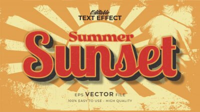 Sticker Editable text style effect - retro sunset summer text in grunge style theme