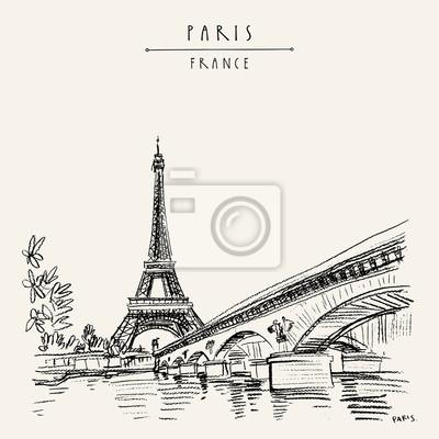 Sticker Eiffel Tower in Paris, France. Vintage hand drawn touristic postcard