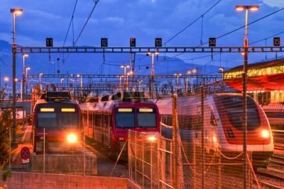 Sticker Electric train in Geneva rail yard