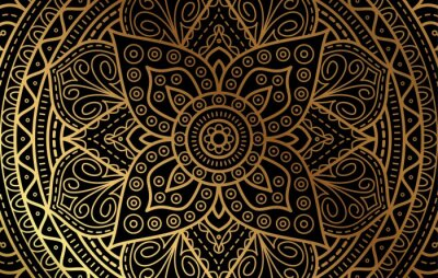 Sticker Elegant background with gold luxury floral pattern texture and traditional arabian mandala concept, use for islamic ramadan banner design, business card greeting card, and poster design vector eps10
