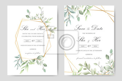 Sticker Elegant watercolor wedding invitation card with greenery leaves