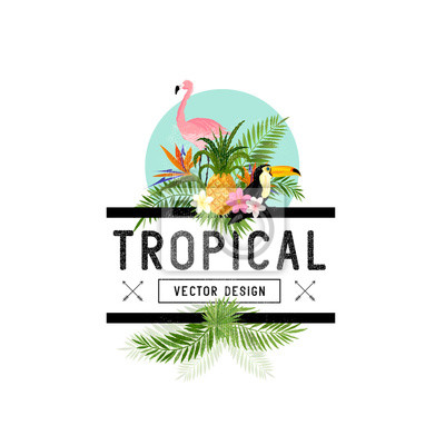Sticker Éléments de conception tropicaux. Divers objets tropicaux dont l'oiseau toucan, l'ananas et les feuilles de palmier.