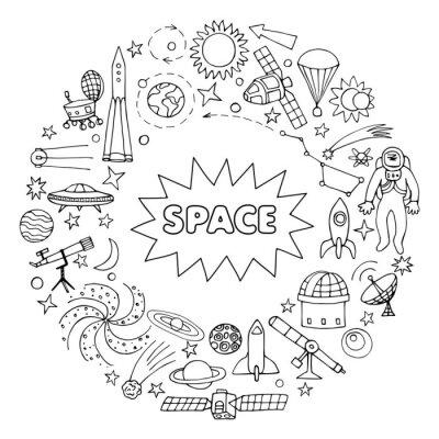 Sticker Éléments de l'espace Doodle