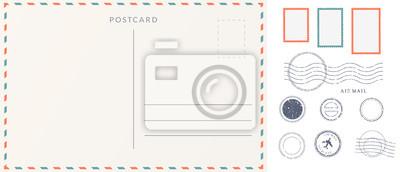 Sticker Elements for empty postcard back. Postage stamps and imprints. Travel card design set.