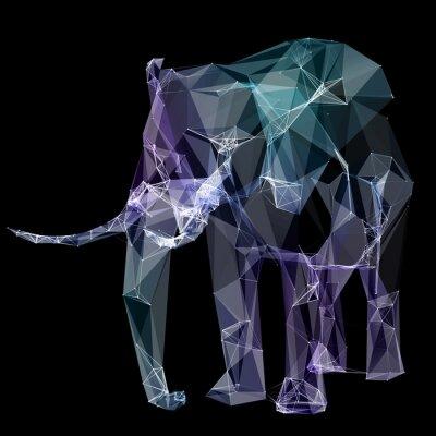 Sticker Éléphant dans la conception de polygone. Illustration numérique. Concept