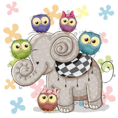 Sticker Éléphant et hiboux