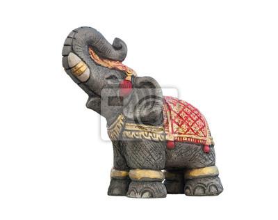 Elephant statue isolé sur fond blanc