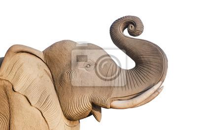 Elephant statue, isolé sur fond blanc