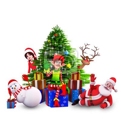 elfes assis devant l'arbre de Noël