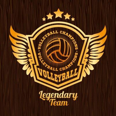 Sticker Emblème de volley-ball d'or sur la texture en bois.