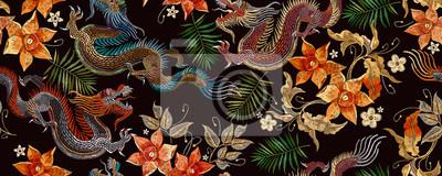 Sticker Embroidery asian dragon and beautiful yellow daffodils flowers seamless pattern. Oriental style. Japan and China art