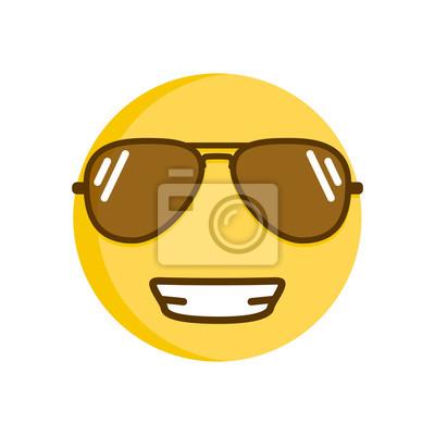 Emoticone Cool Souriante Dans Les Lunettes De Soleil Emoji De Autocollants Murales Myloview Fr