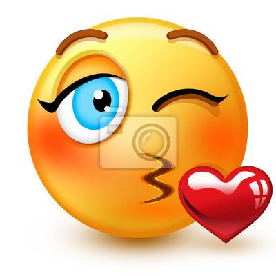 Emoticone De Baiser Visage Mignon Ou 3d Jetant Un Emoji De Baiser Autocollants Murales Emoticones Smileys Rougir Myloview Fr