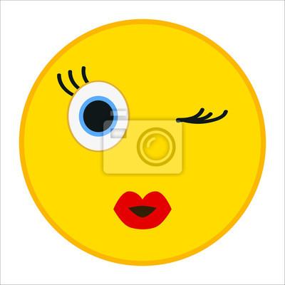 Emoticone Kiss Avec Un Clin Doeil Dans Un Style Plat A La Mode Autocollants Murales Emoticones Embarrasse Smileys Myloview Fr