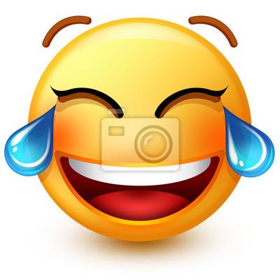 Emoticone Mignon De Rire Visage Ou Emoji Smiley 3d Riant Tellement Autocollants Murales Emoticones Smileys Blog Myloview Fr