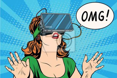 Sticker Émotions OMG de la fille de réalité virtuelle rétro
