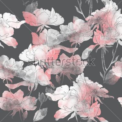 Sticker empreintes de fleurs et feuilles de rose sauvage. modèle sans couture peint à la main. dessin numérique et texture aquarelle. fond pour la décoration et le design textile. papier peint botanique. tech