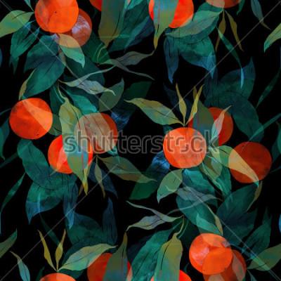 Sticker empreintes mandarines subtropicales avec fruits et feuilles. modèle sans couture peint à la main. numérique et aquarelle. fond pour la décoration et le textile design. fond d'écran. cadre mixte