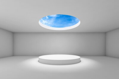 Empty 3d  showroom with round ceiling window 3d