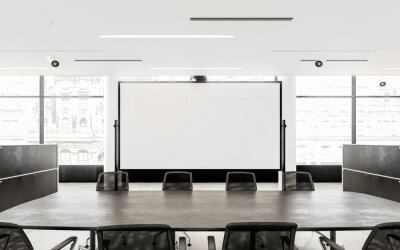 Sticker Empty Chairs And Conference Table In Board Room