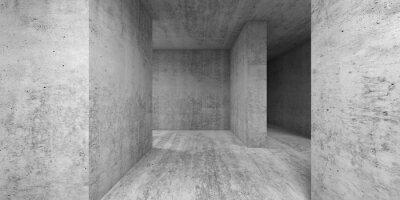 Empty gray concrete room interior. Abstract 3d render