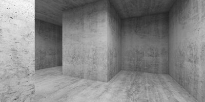 Empty gray concrete room interior. Abstract interior 3 d