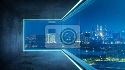 Sticker Empty loft unfurnished contemporary interior office with city skyline and buildings city from glass window .