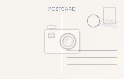 Sticker Empty postcard template. Design of blank post card back.